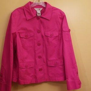 L.L. Bean Large Cotton Blazer Jacket Pink